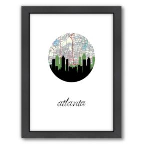 "Americanflat ""Atlanta Map Skyline"" by PaperFinch Framed Wall Art"