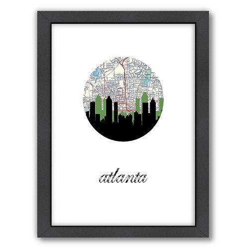 "Americanflat ""Atlanta Map Skyline"" by PaperFinch Framed Wall Art"