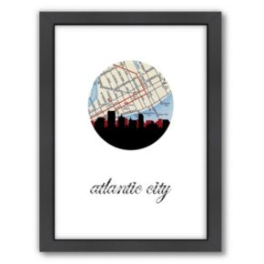 """Americanflat """"Atlantic City Map Skyline"""" by PaperFinch Framed Wall Art"""