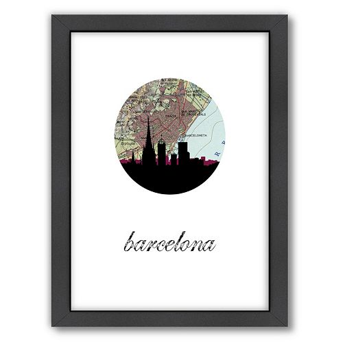 """Americanflat """"Barcelona Map Skyline"""" by PaperFinch Framed Wall Art"""