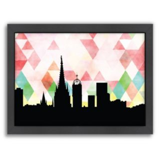"""Americanflat """"Barcelona Triangle"""" by PaperFinch Framed Wall Art"""