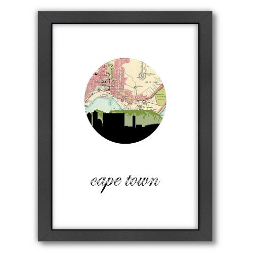 Americanflat Cape Town Map Skyline by PaperFinch Framed Wall Art