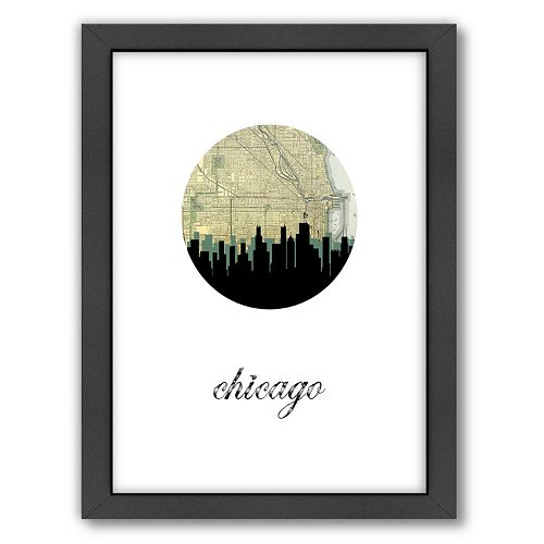 "Americanflat ""Chicago Map Skyline"" by PaperFinch Framed Wall Art"