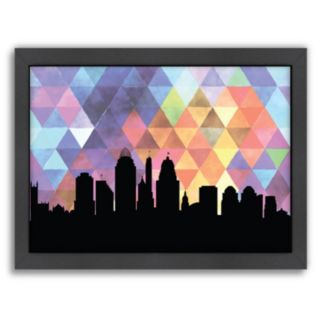 "Americanflat ""Cincinnati Triangle"" by PaperFinch Framed Wall Art"