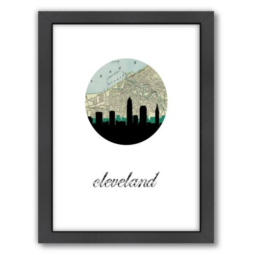 "Americanflat ""Cleveland Map Skyline"" by PaperFinch Framed Wall Art"