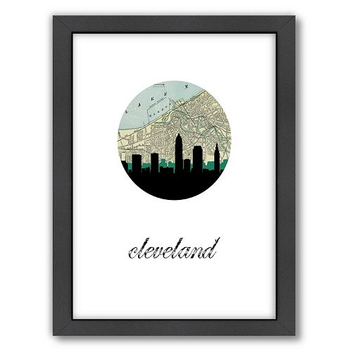 """Americanflat """"Cleveland Map Skyline"""" by PaperFinch Framed Wall Art"""