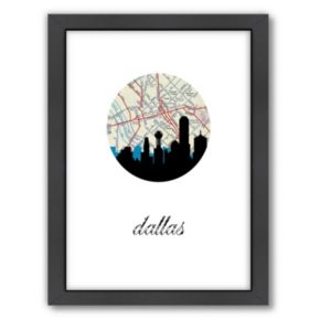 """Americanflat """"Dallas Map Skyline"""" by PaperFinch Framed Wall Art"""
