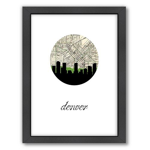 "Americanflat ""Denver Map Skyline"" by PaperFinch Framed Wall Art"