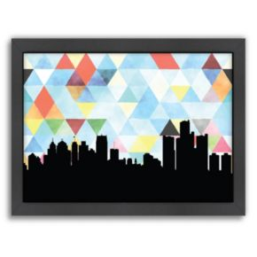 """Americanflat """"Detroit Triangle"""" by PaperFinch Framed Wall Art"""