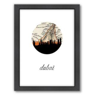 "Americanflat ""Dubai Map Skyline"" by PaperFinch Framed Wall Art"