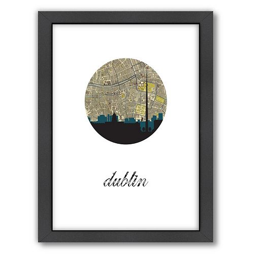 "Americanflat ""Dublin Map Skyline"" by PaperFinch Framed Wall Art"