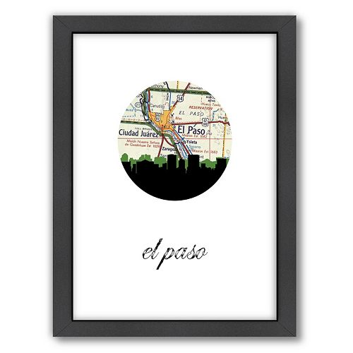"""Americanflat """"El Paso Map Skyline"""" by PaperFinch Framed Wall Art"""