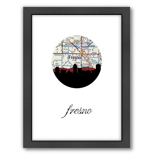 "Americanflat ""Fresno Map Skyline"" by PaperFinch Framed Wall Art"