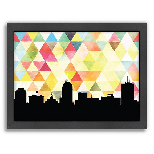 Americanflat PaperFinch Fresno Skyline Framed Wall Art