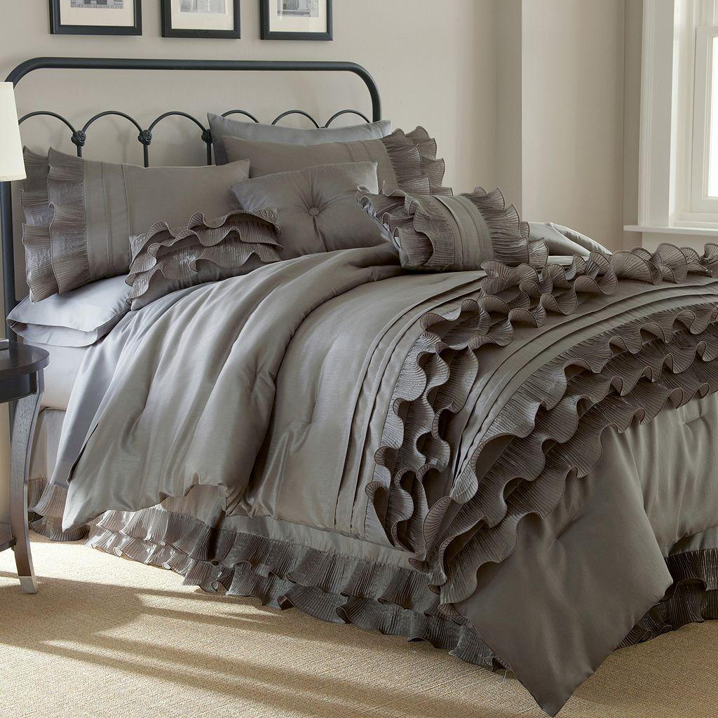 Anastacia Platinum 8-piece Ruffled Bed Set