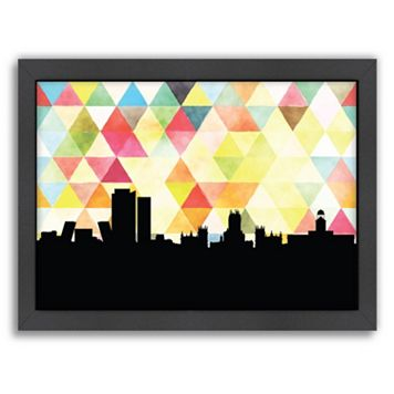 Americanflat PaperFinch Madrid Skyline Framed Wall Art