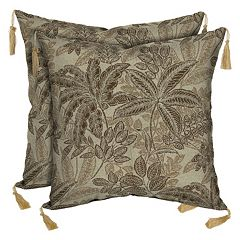 Bombay® Outdoors Palmetto Mocha Floral Tassels Reversible Throw Pillow 2-piece Set