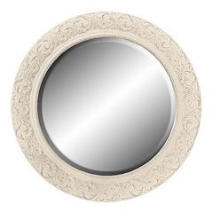Home Decor Mirrors vintage hannah yellow distressed antique finish chic wall mirror decor 10017106 Belle Maison Floral Round Wall Mirror