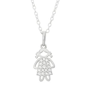Junior Jewels Kids' Sterling Silver Cubic Zirconia Girl Pendant
