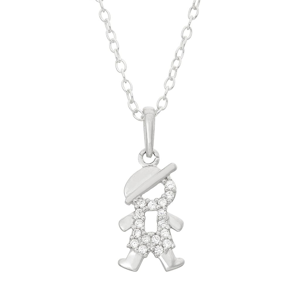 Junior Jewels Kids' Sterling Silver Cubic Zirconia Boy Pendant
