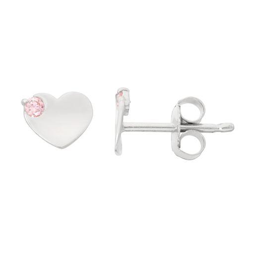 Junior Jewels Kids' Sterling Silver Cubic Zirconia Heart Stud Earrings