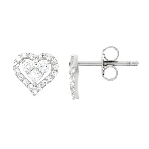Junior Jewels Kids' Sterling Silver Cubic Zirconia Heart Stud Earrings