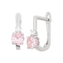 Junior Jewels Kids' Sterling Silver Cubic Zirconia U-Hoop Earrings