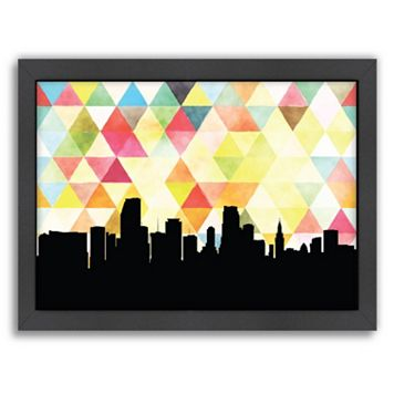 Americanflat PaperFinch Miami Skyline Framed Wall Art