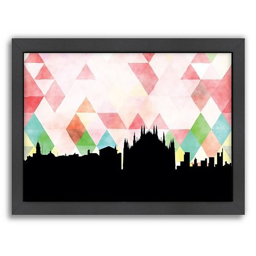 Americanflat PaperFinch Milan Skyline Framed Wall Art