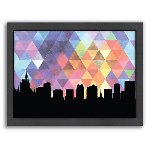 Americanflat PaperFinch Orlando Skyline Framed Wall Art