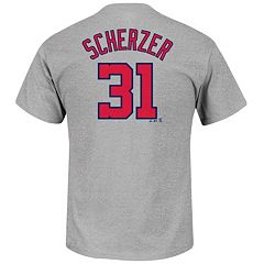 Men's Majestic Washington Nationals Max Scherzer Player Name and Number Tee