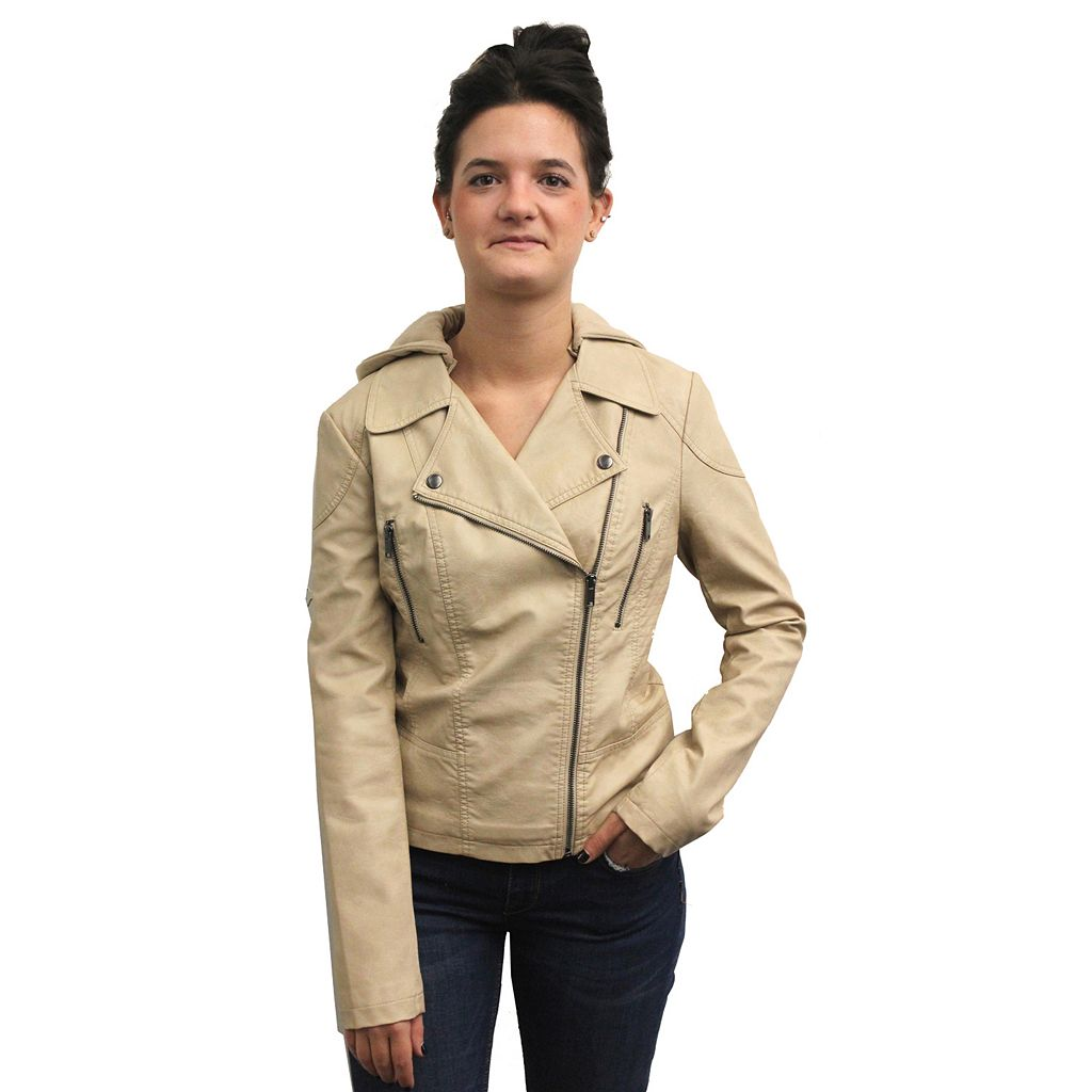 Women's Coffee Shop Hooded Faux-Leather Motorcycle Jacket