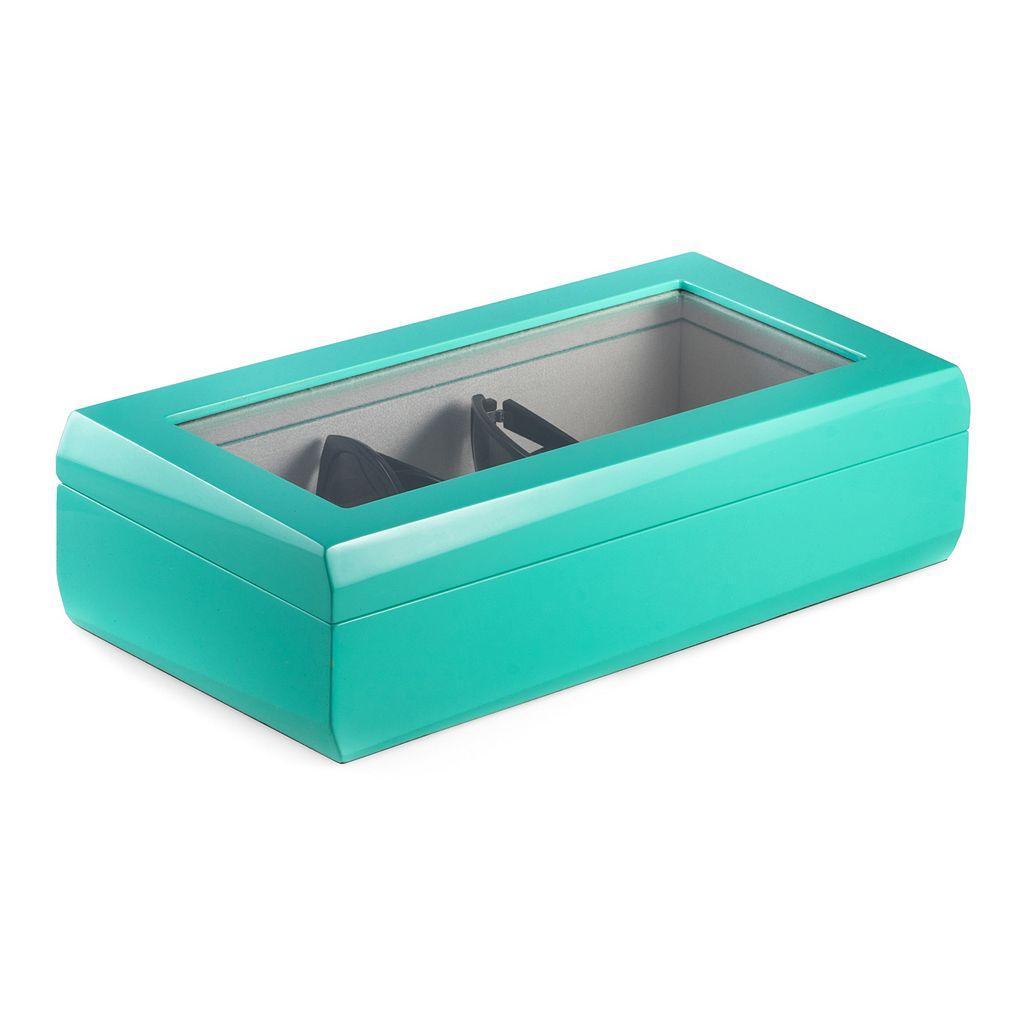 Bey-Berk Lacquered Turquoise Wood Multi-Eyeglass Storage Case