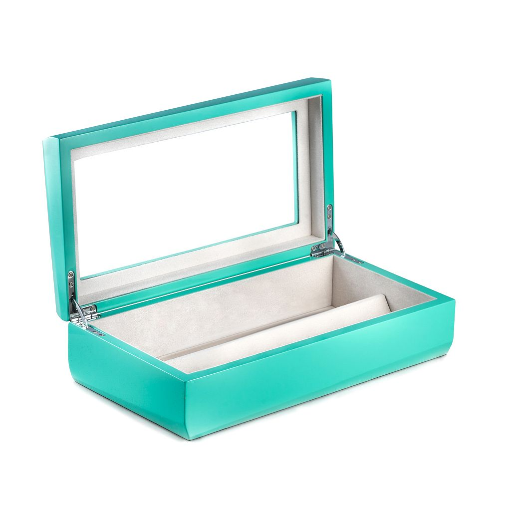 Bey-Berk Lacquered Turquoise Wood Multi-Eyeglass Storage Case