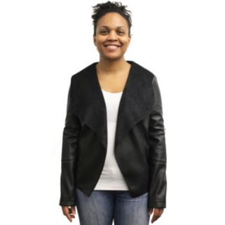 Women's MO-KA Faux-Leather Open-Front Jacket