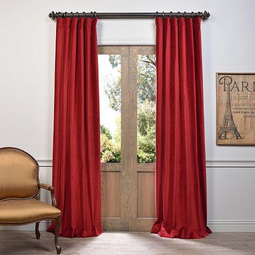 EFF 1-Panel Vintage Cotton Velvet Window Curtain