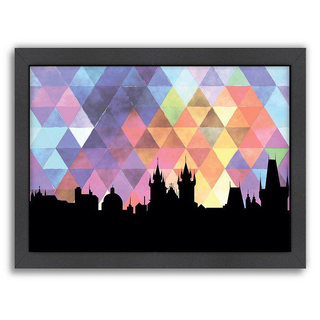Americanflat PaperFinch Prague Skyline Framed Wall Art