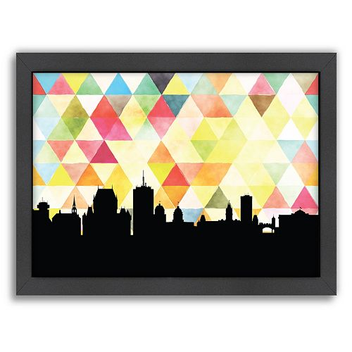 Americanflat PaperFinch Quebec Skyline Framed Wall Art