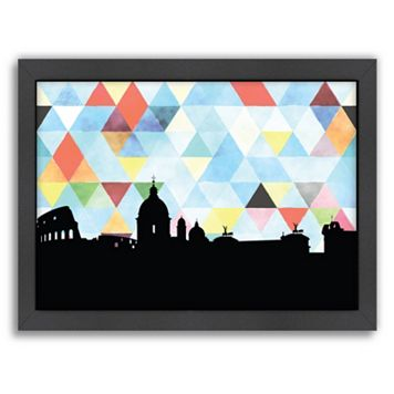 Americanflat PaperFinch Rome Skyline Framed Wall Art