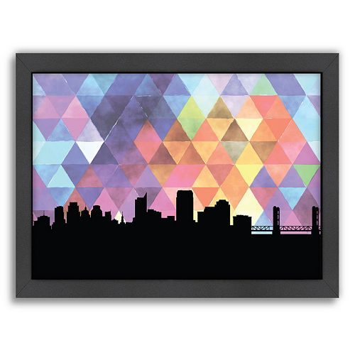 Americanflat PaperFinch Sacramento Skyline Framed Wall Art