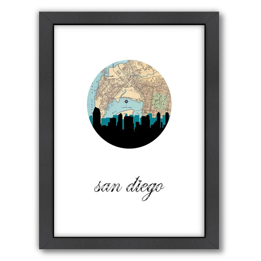 Americanflat PaperFinch San Diego Framed Wall Art