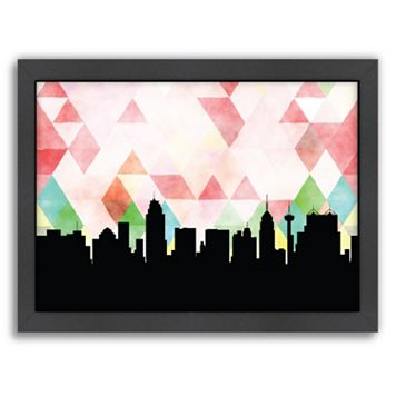 Americanflat PaperFinch San Antonio Skyline Framed Wall Art