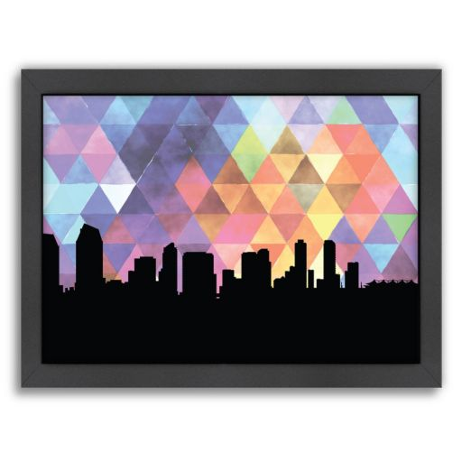 Americanflat PaperFinch San Diego Skyline Framed Wall Art