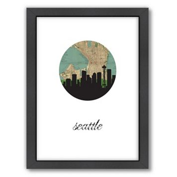 Americanflat Seattle Map Skyline Framed Wall Art