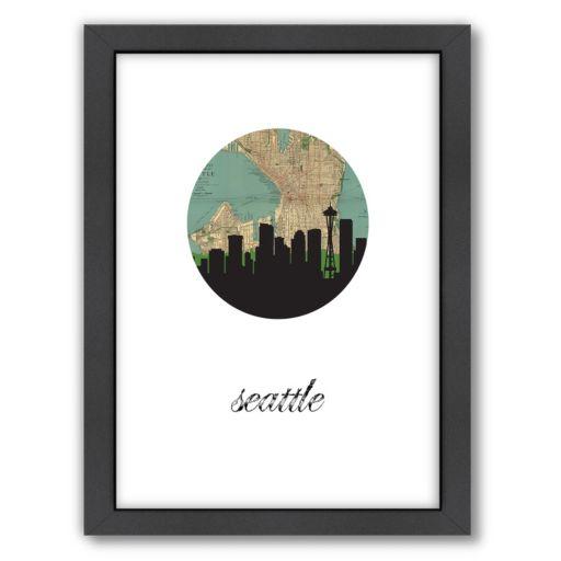 Americanflat Seattle Map Skyline Framed Wall Art