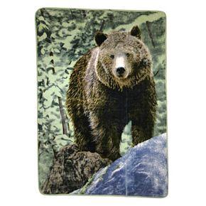 Bear on Rock Hi Pile Luxury Oversize Throw