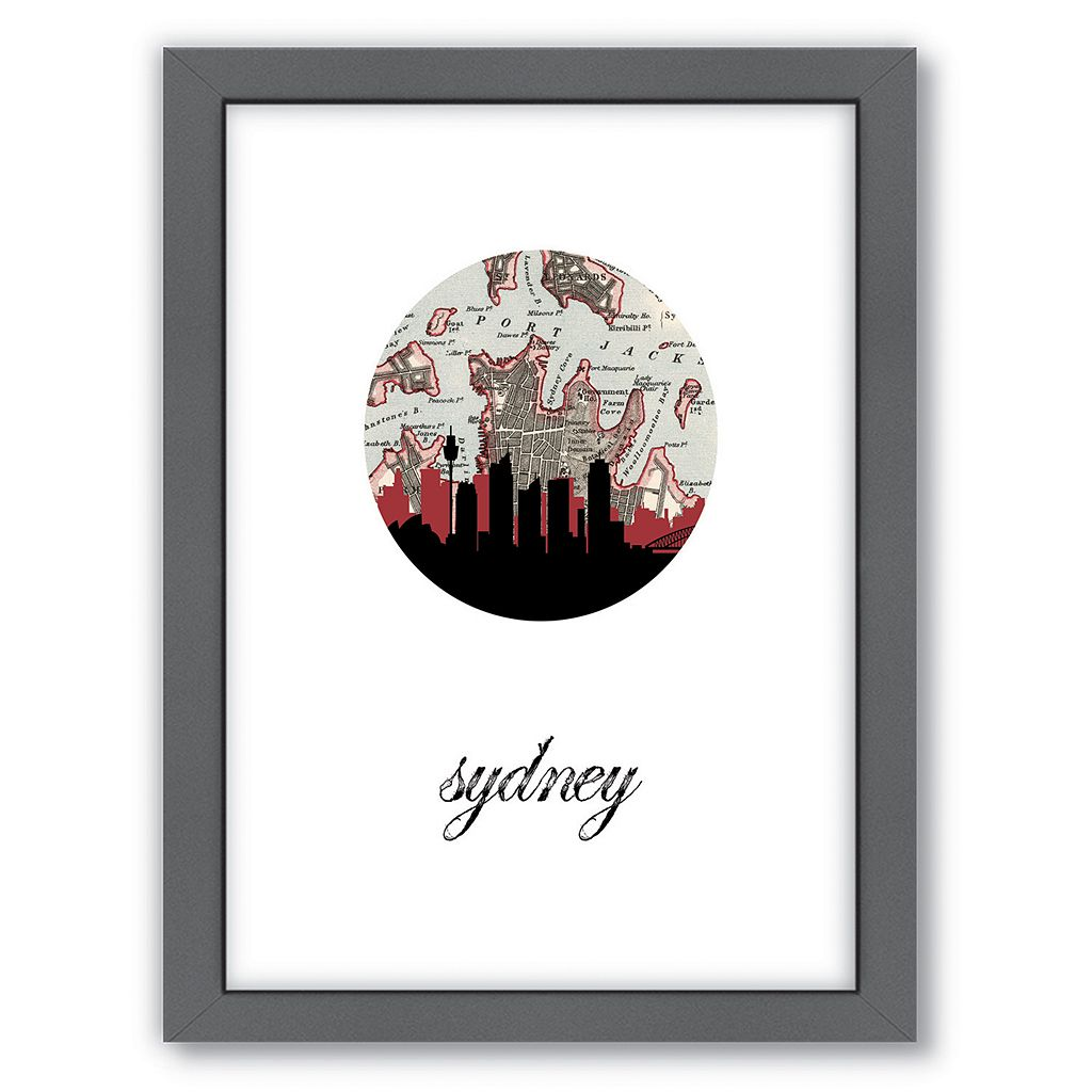 Americanflat Sydney Map Skyline Framed Wall Art