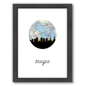 Americanflat Tampa Map Skyline Framed Wall Art