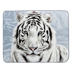 White Tiger Hi Pile Luxury Oversize Throw