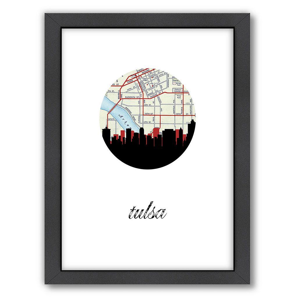 Americanflat Tulsa Map Skyline Framed Wall Art